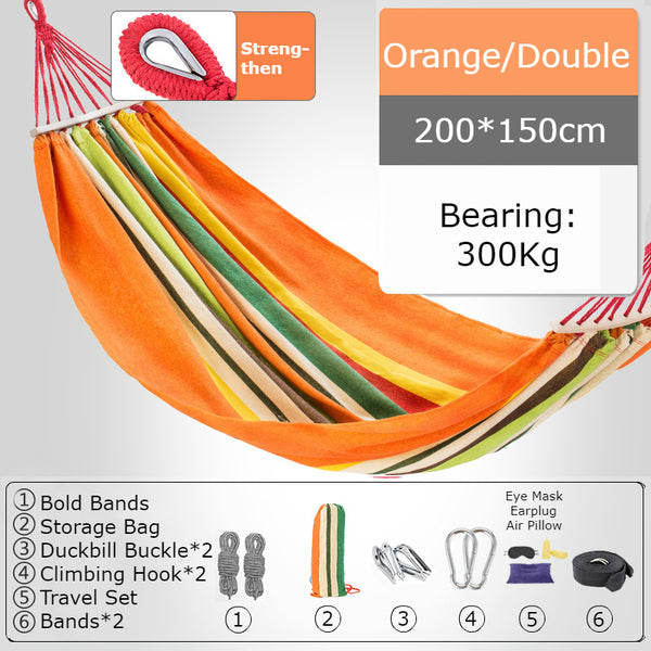 Thickened Single/Double Hammock, More Breathable, Safer and More Comfortable, For Camping, Dormitory & Leisure