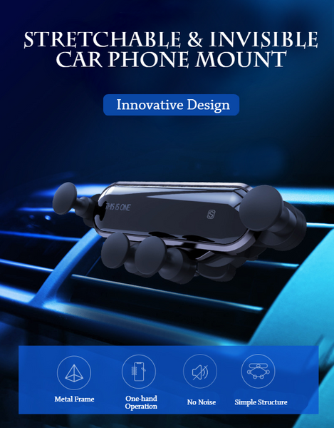 Gravity Air Vent Car Phone Mount With Auto Lock, Compatible For Most Phones & Vehicles