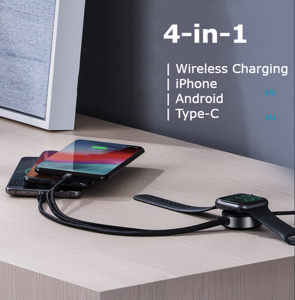 4-in-1 Wireless Charging USB Charging Cable Support Android, iPhone & Type C