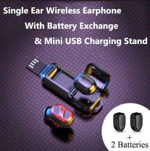 Bluetooth 5.0 Single Ear Wireless Earphone With Battery Exchange & Mini USB Charging Stand