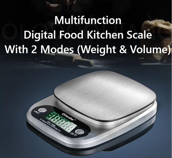 Multifunction Digital Food Kitchen Scale With 2 Modes (Weight & Volume) and 4 Units, High Accuracy & LED Display