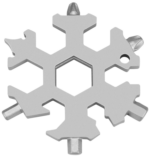 18-in-1 Stainless Steel Snowflakes Multi-Tool, With Bottle Opener, Flat Phillips Screwdriver Kit & Wrench