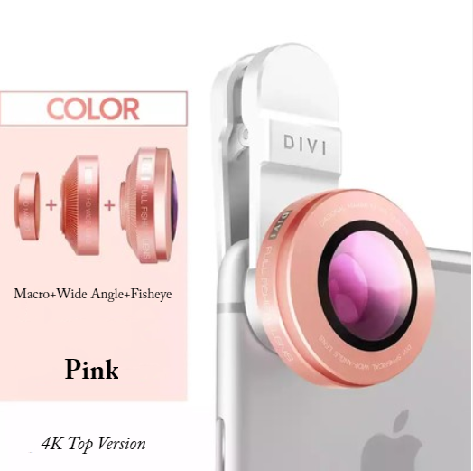 3-in-1 Cell Phone Lens Attachment Kit: 230° Fisheye Lens + 15X Macro Lens + 0.12X Wide Angle Lens