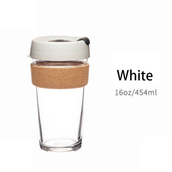 Reusable & Portable Glass Coffee Cup With Lid & Sleeve, For Home, Travel & More