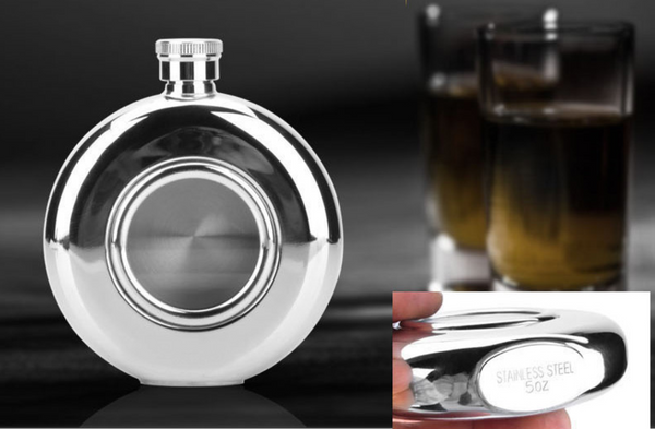 5oz Portable Stainless Steel Hip Flask For Spirit & Coffee, With Creative Transparent Round Skylight