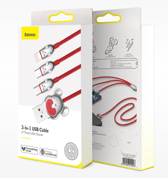 3-in-1 1.2m Mouse-shape Multiple Cable with Type-C/Micro USB/Lightning, Compatible with Most Cell Phones and Tablets