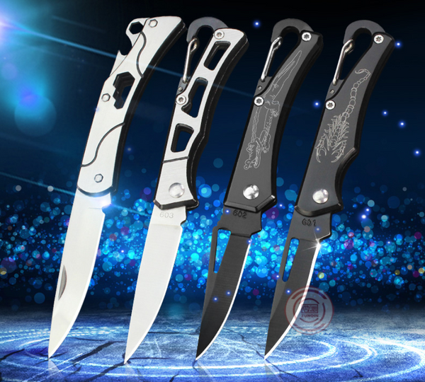 Portable Stainless Steel Outdoor Folding Knife With High Hardness, Key Ring, For Camping, Self-defense And Daily Use