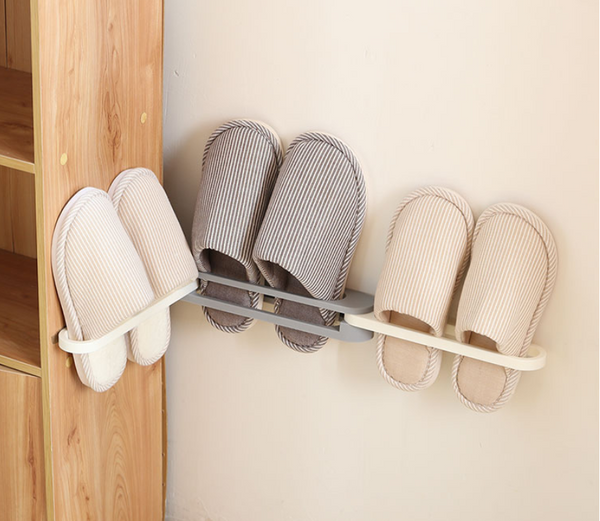 3-in-1 Foldable Wall Mounted Folding Slippers / Towel Rack With Non-Punch Design, Suitable for Towels and Most Shoes, For Bathroom, Living Room, Kitchen, Behind Door & More