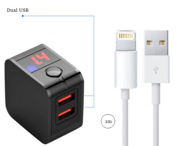 Portable Smart Auto Power-off Charger with Dual USB, PD 18W Fast Charging, LED Current/Voltage Display and Two Charging Modes, for Apple & Android