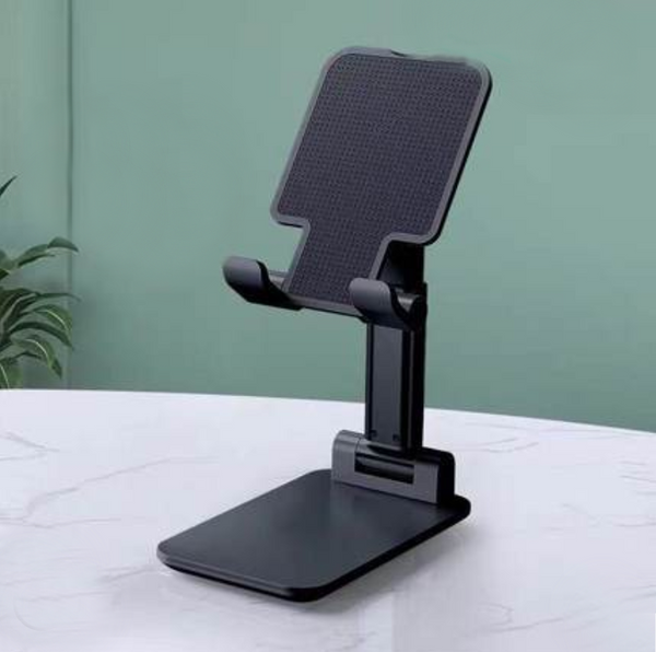 Foldable Portable Phone Holder, with Lifting Design, Adjustable Angle, Reserved Charging Cable Notch, One-hand Operation and Non-slip Silicone Pad, Suitable for Phones and Tablets