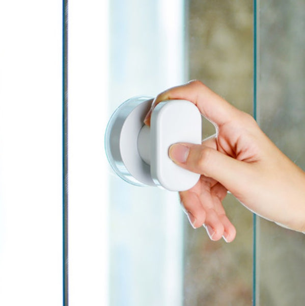 Waterproof Glass Door Knob with Strong Suction Cup, Glue-Free, Punch-Free and Traceless Adsorption, for Door, Toilet Lid, Drawer, Refrigerator and More