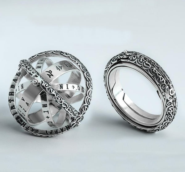 Cool Retro Foldable Silver Ring with Universe Sphere, Made of 925 Silver, Creative Gift for Men and Women