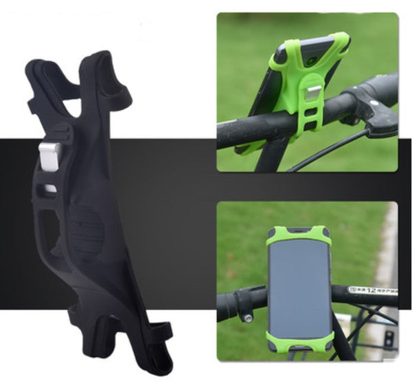 Adjustable Bicycle Phone Holder, with Simple Installation, Elastic Silicone, Stable Fixing and Light Weight Design, for Bicycle, Motorcycle and More
