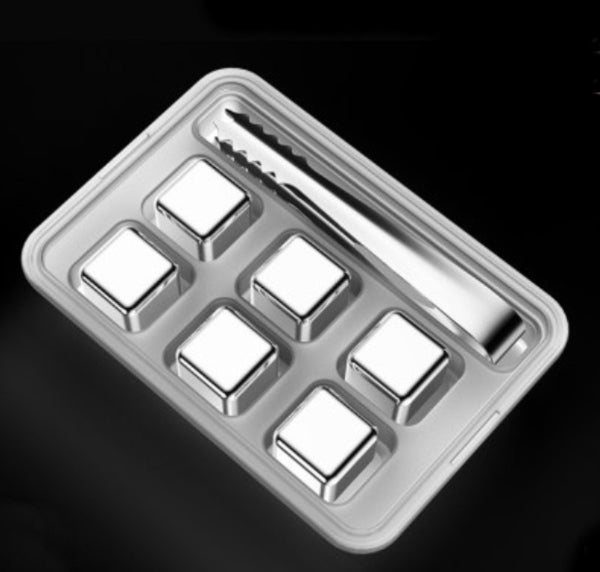 Reusable 304 Stainless Steel Ice Cubes, with 3-minute Rapid Cooling and Portable Storage Box, without Diluting the Taste, for Drinks, Coffee, Wine and More