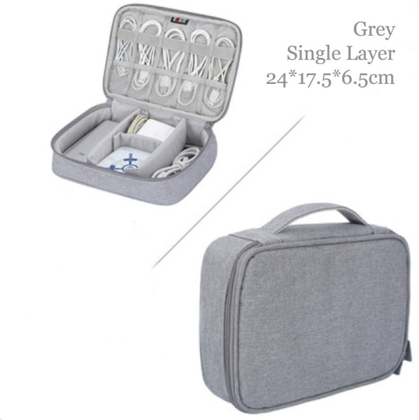 Portable Large-capacity Digital Accessory Storage Bag, with EVA Hard Shell, Waterproof and Shockproof Design, Double Storage and Adjustable Partition, for Cables, Power Bank, Cosmetics and More