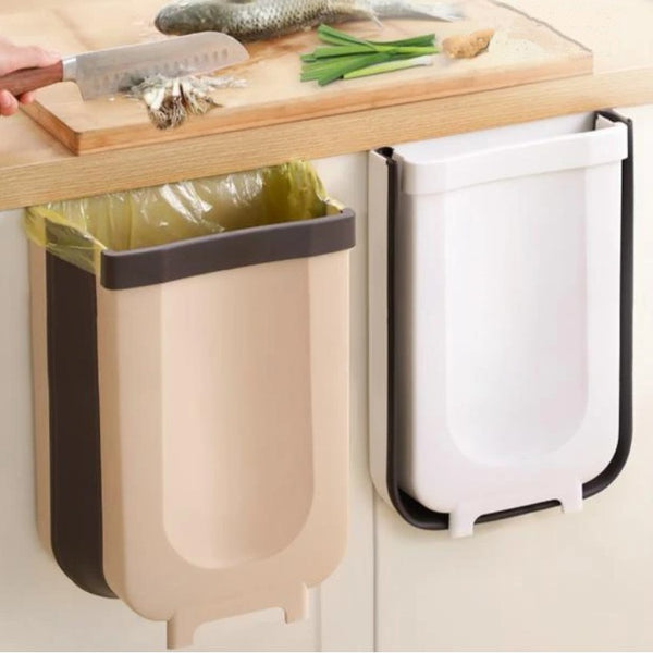 Foldable Kitchen Cabinet Door Hanging Trash Bin, with Garbage Bag Fixing Strap and Strong Load-bearing Capacity, for Kitchen, Bathroom, Car and More