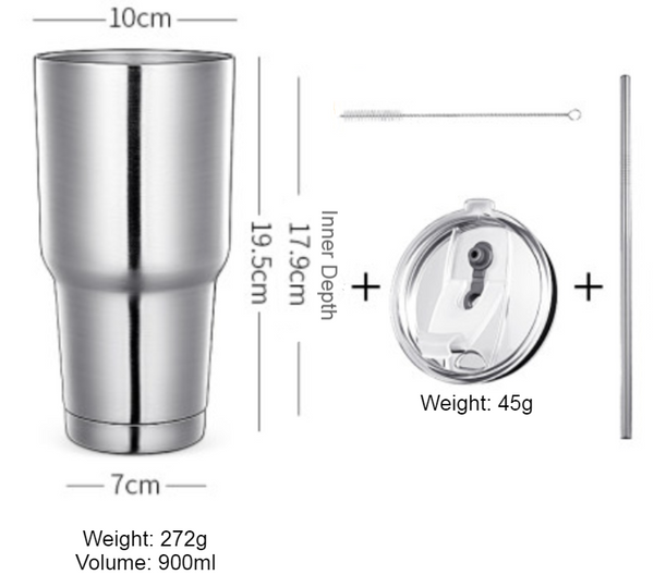 Stainless Steel Vacuum Insulation Travel Mug with Reusable Straw and Crystal Clear Lid, for Water, Coffee, Cold and Hot Beverage