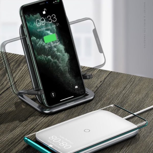 Horizontal and Vertical Wireless Charger & Phone Holder, With 1m Charging Cable, 15W Fast Charging and Aluminum Alloy Holder for iPhone, Huawei, Samsung and More