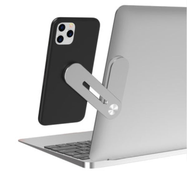 Expansion Phone Holder, Fixed on Laptop, with Magnet Design, Space-saving & Ergonomic Design and Aluminum Alloy Bracket, for Work, Study, Game and More