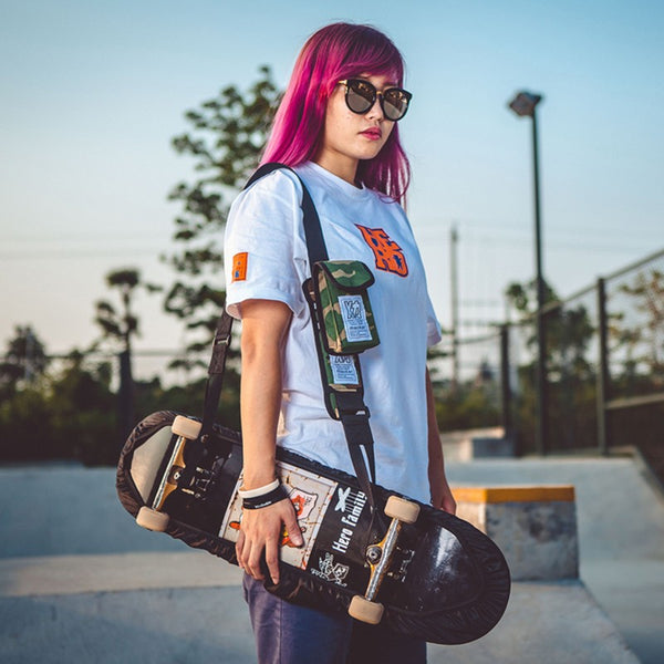 Skateboard Shoulder Carry Strap, with Portable Multi-Function Bag and Adjustable Strap, Fit for all Skateboards