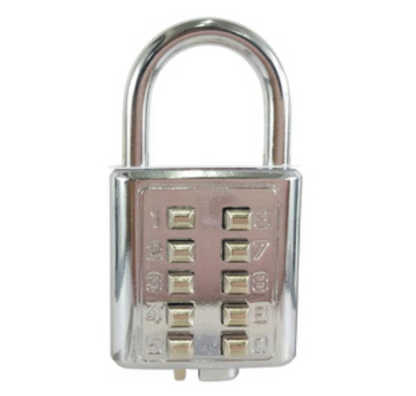 10-Digit Push Button Anti-theft Padlock, for Gym, Luggage, Drawer, Cabinet, Door and More