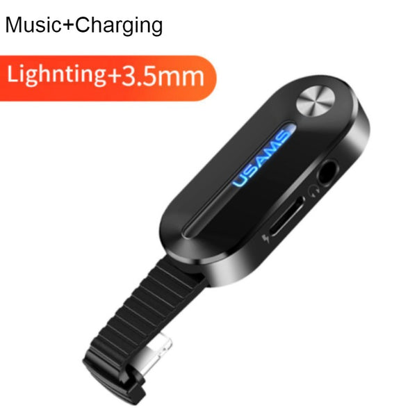 USB Splitter with Ring Holder, Support Audio, Call, Charging and Wire Control, for Apple Devices with Lightning Port