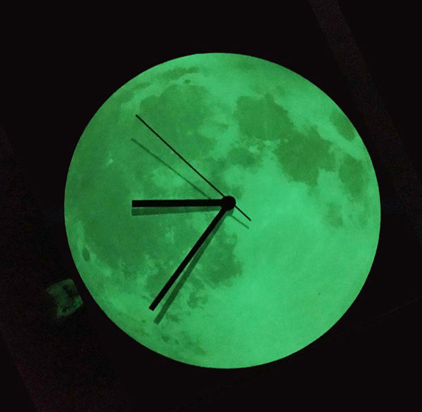 Follow The Moon Home - Wall Clock Glowing In The Dark