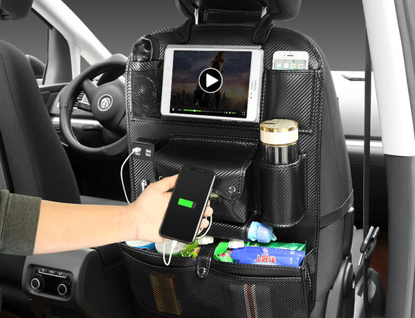 Multifunctional Car Seat Back Large Capacity Storage Bag with 4 USB Charging Port, Retractable Tray, Tablet Holder, Tissue Storage, Cup Holder, Oversized Storage Bag and More