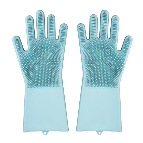 Magic Silicone Dishwashing Gloves with Rubber Scrubbers for Dishes, Housework, Kitchen, Car, Window Cleaning & More (1 Pair)