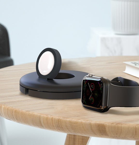 Compact Stand for Apple Watch Charger with Magnetic Charger Module & Integrated Cable Management Slot