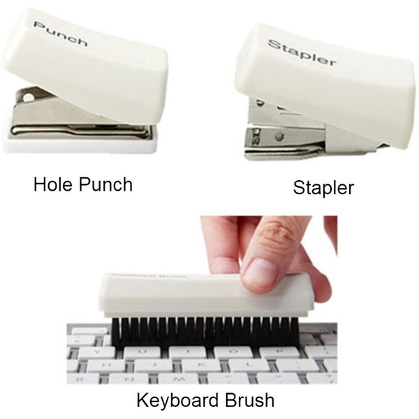 Mini 4-in-1 Office Stationery Set, with Hole Punch, Stapler, Keyboard Brush & Clip Organizer, for Home & Office