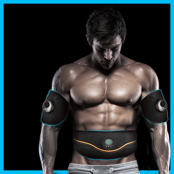 Rechargeable Home Smart EMS Abdominal Belt, with Velcro Fastening, Breathable Mesh, 6 Modes and 9 Strengths, for Home, Office & Gym
