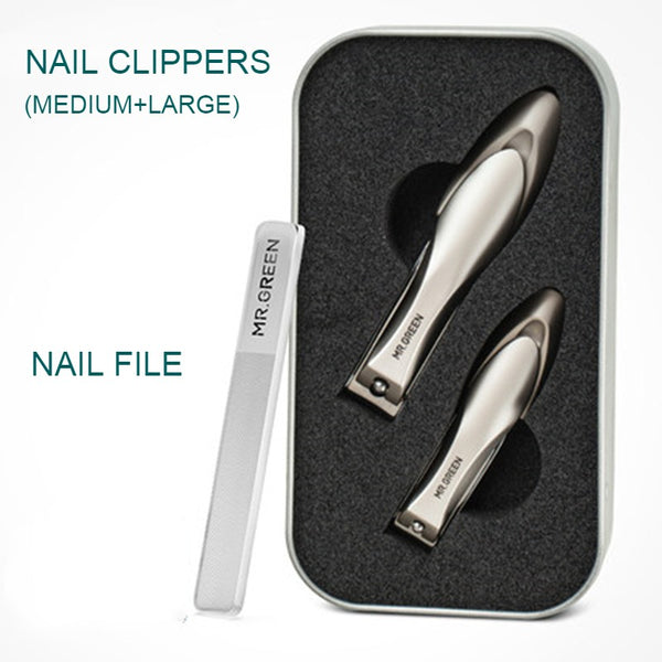 Nail Clipper Set, with 2 Nail Clippers & 1 Nail File,for Both Your Fingers & Toes