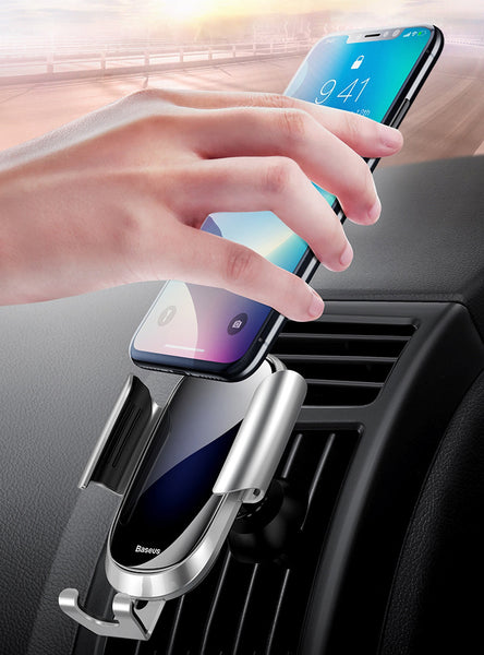 3D Curved Glass Gravity Car Phone Mount With 360° Adjustable, Hands Free & Auto Lock Design
