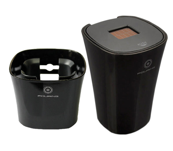 Solar-powered Smokeless Car Ashtray & Cup Holder - Perfect Addition to Your Car