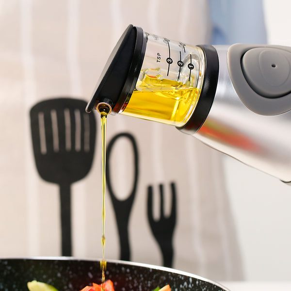 Oil & Vinegar Dispenser With Measuring Cup On The Top