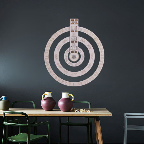 Wooden Hanging Round Spin Perpetual Calendar, for Home & Decor