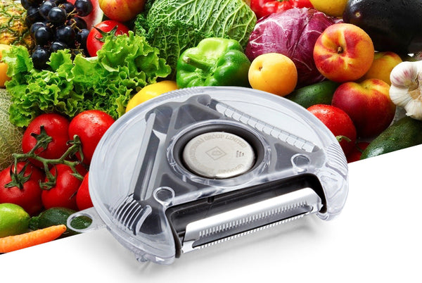 3-in-1 Compact Rotary Vegetable Peeler with 3 Stainless-steel Blades, Perfect for Potatoes, Carrots, Cucumbers & More