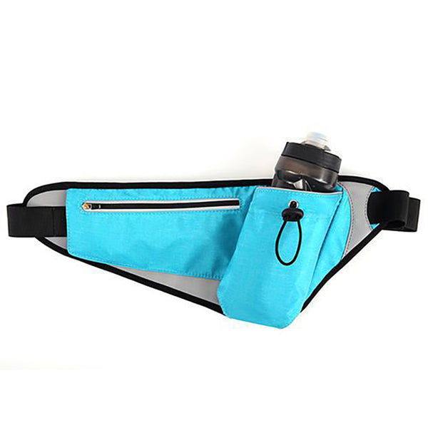 Waterproof Sports Waist Bag with Adjustable Bottle Holder & Night Reflective Strip, for Running, Camping, Jogging, Hiking, Trip and More