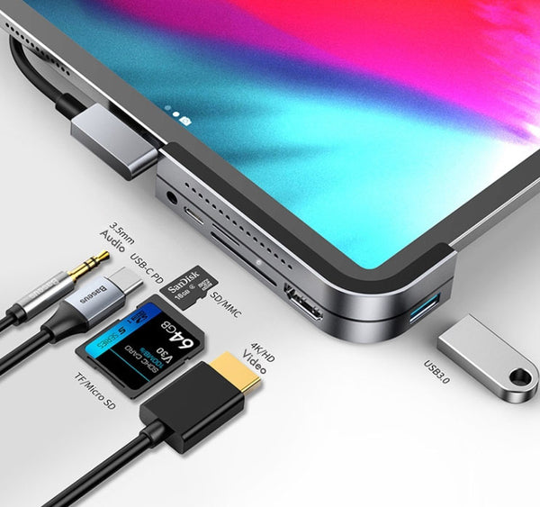 6-In-1 USB Type-C Hub With USB3.0, SD, MicroSD, Audio, 4K/HD & USB-C PD, For iPad Pro & More
