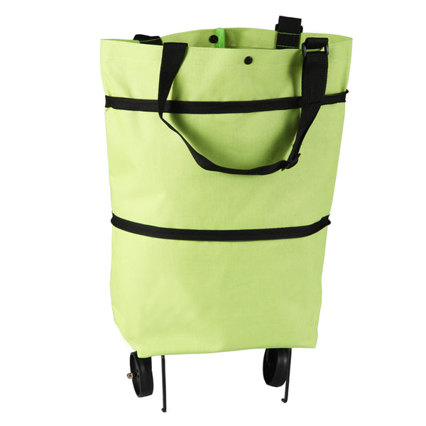 Reusable Shopping Trolley / Tote Bag with Foldable Wheels, Adjustable Strap, Thick Bottom and Large Capacity, For Shopping, Outdoors and More