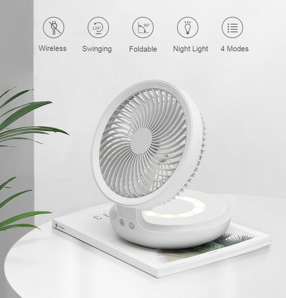 Rechargeable Foldable Desktop Fan, with Four Modes, Night Light and Adjustable Angle, for Study, Sleep, Work and Outdoors