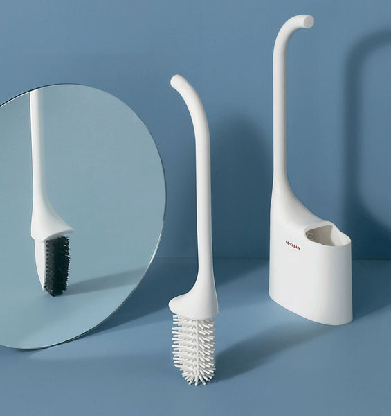 2-in-1 Hygienic Silicone Toilet Brush, with Nylon & Silicone Bristles and Quick-dry Holder, for Bathroom