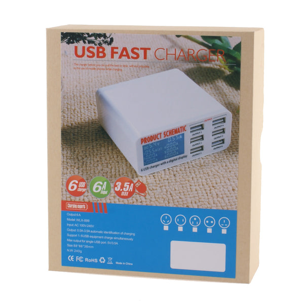 Smart 6-Port USB Charge Station With Digital Display - Charge Safer and Faster