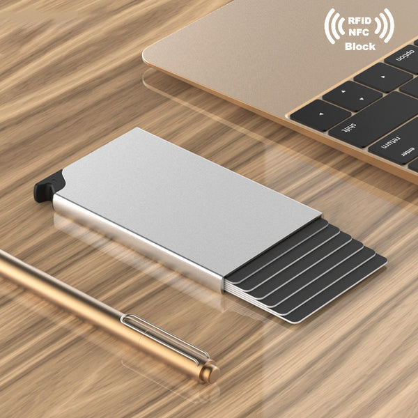 RFID Simple Slim Mini Automatic Pop-up Aluminum Card Holder, Anti-magnetic & Anti-theft