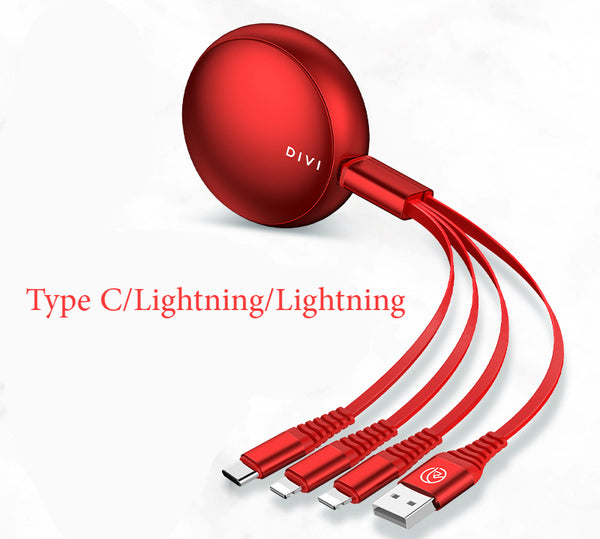 Retractable 3-in-1 (Type C/Lightning/Micro) USB Charging Cable: 1.45m, Compact, Portable, Anti-winding & Anti-fracture