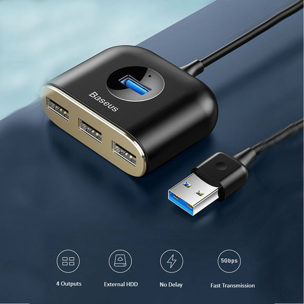 4-in-1 Expansion Dock with USB/Type-C Connector, Four-port Simultaneous Output, 5Gbps Transmission Speed, Compatible with HDD, Card Reader, Printer, Radiator, Mouse, etc.