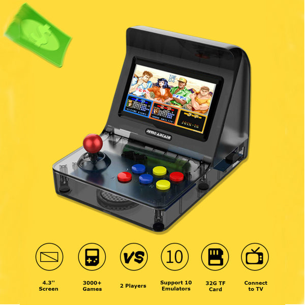 4.3 Inch Mini game Console with Built-in 3000 Games, 360° Joystick, 2200mAh Lithium Battery, Can be Connected to TV and Headphones, Supports Two-player Games and Up To 32G TF Card