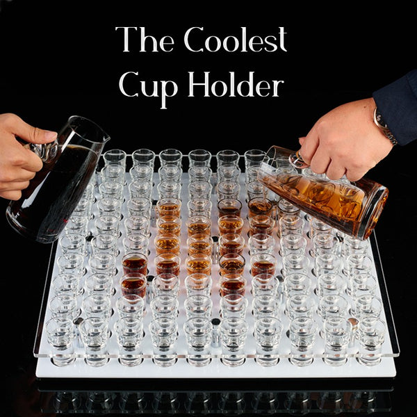 The Coolest Cup Holder with 100 Holes & Acrylic/Stainless Steel Material, for Birthday, Wedding, Holiday Party and More