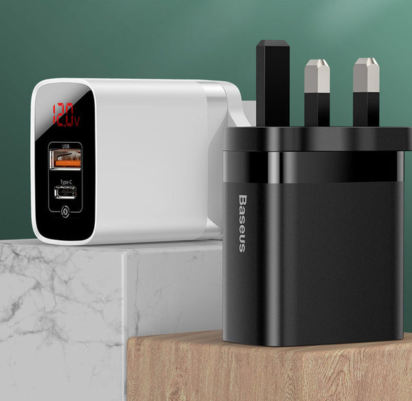 Mirror Digital Quick Charge Wall Charger with 18W Power Delivery & USB + Type-C, Available in US, UK, EU Adapter